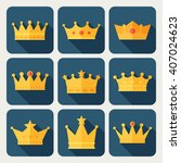 set of gold crown icons.... | Shutterstock .eps vector #407024623