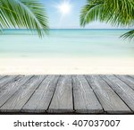 empty wooden planks with blur... | Shutterstock . vector #407037007