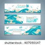 vector set of sea ocean... | Shutterstock .eps vector #407050147