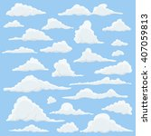 cartoon clouds set on blue sky... | Shutterstock . vector #407059813