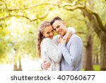 young couple walking  hyde park ... | Shutterstock . vector #407060677