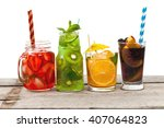 Set Of Different Summer Drinks...