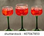 sparkling red drink in wine... | Shutterstock . vector #407067853