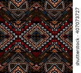 aztec stylized seamless pattern.... | Shutterstock .eps vector #407073727