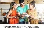 friends happiness enjoying... | Shutterstock . vector #407098387