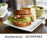 turkey sandwich with bacon ... | Shutterstock . vector #407099983