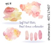 rose watercolor blobs set