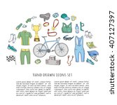 bicycle equipment hand drawn... | Shutterstock .eps vector #407127397