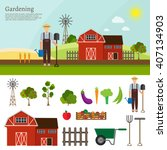 big set of vector farm elements | Shutterstock .eps vector #407134903