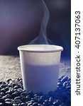 paper cup of fresh hot coffee... | Shutterstock . vector #407137063