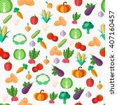 flat vegetables seamless... | Shutterstock .eps vector #407160457