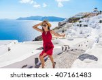 travel tourist happy woman... | Shutterstock . vector #407161483