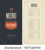 menu template with cutlery fork ... | Shutterstock .eps vector #407166943