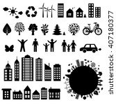 city icons big set  vector... | Shutterstock .eps vector #407180377