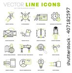thin line icons set. business... | Shutterstock .eps vector #407182597