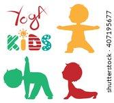cute yoga boy silhouette...   Shutterstock .eps vector #407195677