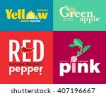 set of colored logos on the... | Shutterstock .eps vector #407196667