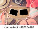 beach accessories on an old... | Shutterstock . vector #407206987