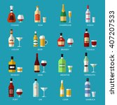 vector alcohol list with icons... | Shutterstock .eps vector #407207533