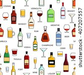 vector alcohol bottles... | Shutterstock .eps vector #407207557
