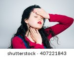 girl is ill with angina virus ... | Shutterstock . vector #407221843