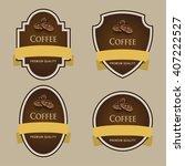 set of dark labels. coffee... | Shutterstock .eps vector #407222527
