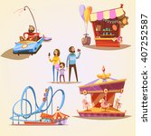 amusement park cartoon set with ... | Shutterstock .eps vector #407252587
