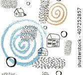 vector pattern with village... | Shutterstock .eps vector #407252857