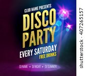disco party poster template.... | Shutterstock .eps vector #407265157