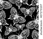 zentangle stylized butterfly... | Shutterstock .eps vector #407273107