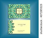 oriental business card mockup... | Shutterstock .eps vector #407285323