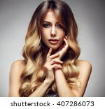 beautiful blonde woman with... | Shutterstock . vector #407286073