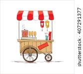 hot dogs on wheels.  vector... | Shutterstock .eps vector #407291377