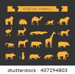 modern set of silhouettes of... | Shutterstock . vector #407294803
