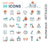 set vector line icons in flat... | Shutterstock .eps vector #407316223
