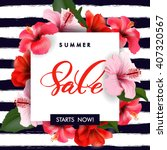 Summer sale Concept. Summer background with tropical flowers.  Template Vector. | Shutterstock vector #407320567