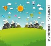 mountain landscape on pop up... | Shutterstock .eps vector #407328367