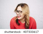 laughing woman in red dress and ... | Shutterstock . vector #407333617