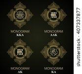vintage monograms   4 sets  ... | Shutterstock .eps vector #407337877