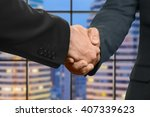Small photo of Adult caucasian businessmen shake hands. Handshake in evening megalopolis. It's nice to meet you. Partner for election campaign.