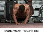 young adult athlete doing push... | Shutterstock . vector #407341183
