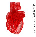 human heart. 3d illustration.... | Shutterstock . vector #407342653