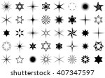 black vector stars collection... | Shutterstock .eps vector #407347597