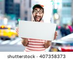 crazy young man surprised... | Shutterstock . vector #407358373