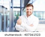 young businessman happy... | Shutterstock . vector #407361523