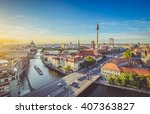 Stock photo aerial view of berlin skyline with famous tv tower and spree river in beautiful evening light at 407363827