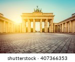 Stock photo famous brandenburger tor brandenburg gate a major landmark and national symbol in golden 407366353