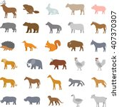 colored set flat domestic... | Shutterstock . vector #407370307
