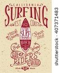 san diego california surf... | Shutterstock .eps vector #407371483