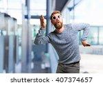 blond hipster man. happy... | Shutterstock . vector #407374657